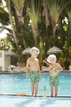 Bungalow Beach Trunks - Cabana Lounge Leaf - The Beaufort Bonnet Company Beaufort Bonnet Company, Baby George, One Fine Day, Cabana, Little Boys, Bungalow, Summertime, Kids Fashion, Lounge