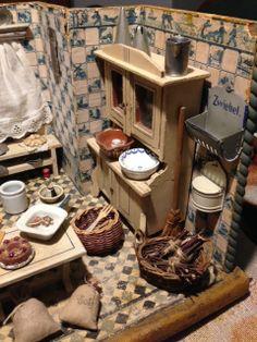 Wonderful antique German dollhouse kitchen room box!