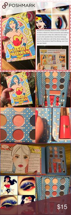 Wonder Woman complete makeup kit NWT I read reviews an had to see for myself, just released end of May 2016, there was two of these books left and one bronzer set and I had to keep the one bronzer set and one of these kits for myself but I love you gals so I got you one too! Enjoy this set its from wet n wild, highly pigmented because I've used mine already and ladies! There's a green and a red shadow in here!!! The eyeliner is the great water proof wet n wild black eye liner that stays on…