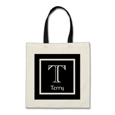 Custom Color Monogram and Name BLACK WHITE V13 Canvas Bags  To see customizable totes visit http://www.zazzle.com/jaclinart/gifts?cg=196427799858145824  #monogram #tote #wedding #jaclinart #bridesmaid