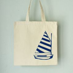 More $5 totebags Sailboat - tote - blue boat on natural bag