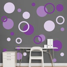 """I just love all these polka dots on that wall, the grey really makes them """"pop""""!"""