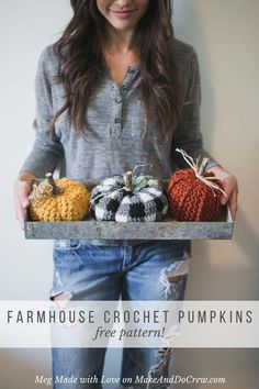 This free crochet pumpkin pattern adds a rustic and modern DIY touch to your Halloween and Thanksgiving decorations. A crochet plaid pumpkin, A crochet jute pumpkin and a chunky crochet pumpkin made with Wool Ease Thick & Quick complete this adorable trio by Meg Made with Love.