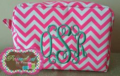 Neon pink and White Chevron Monogrammed by PersonalizedbyPriss, $25.00