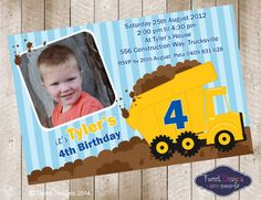 Dump Truck Printable Birthday Invitation (perfect for Tonka Truck Party) on Etsy, $14.29
