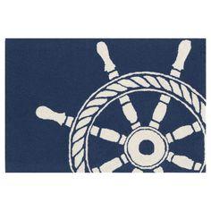 Frontporch Ship Wheel Navy Rug - 3 x 4