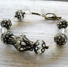 Antique Bronze Filigree Wedding Bracelet  Clear AB by MystiqueCat, $18.00
