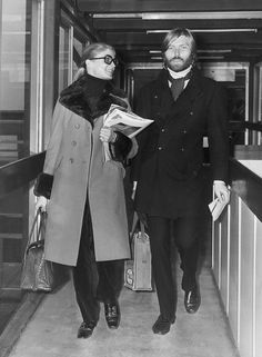 Dressed in a chic brown coat with a fur collar, Candice is seen in the airport with Terry Melcher,(now, sadly, the late son) of Doris Day.  Credit: Dove, Express/Getty Images