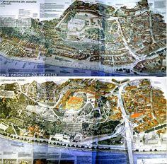 Porovnanie - mapa Bratislavy v prvej polovici 20 storočia a mapa Bratislavy dnes