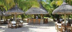 The gorgeous Beach Bar at the Dinarobin Golf and Spa Resort on the island of Mauritius. Mauritius Hotels, Mauritius Island, Beautiful Hotels, Beautiful Places, Win A Holiday, Gazebo, Pergola, Beach Bars, Beach Club