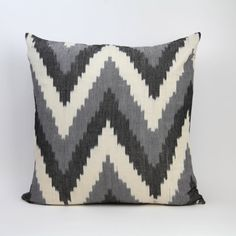 GRAY CHEVRON PILLOW cover, ikat pillow, 20x20 chevron, charcoal, gray, white, linen, natural woven ikat pillow cover