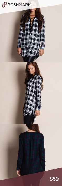 """Lace Up Plaid Tunic Top Lace up plaid tunic top. Available in red, white and green. This listing is for the WHITE. This is an ACTUAL PIC of the item - all photography done personally by me. Model is 5'9"""", 32""""-24""""-36"""" wearing the size small. NO TRADES DO NOT BOTHER ASKING. PRICE FIRM. Bare Anthology Tops Tunics"""
