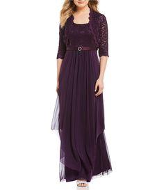 NWT R.M RICHARDS Sequin Lace Taffeta Skirt Evening Dress Size 12P PLUM