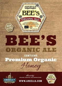 Arkell's Bee's Organic Ale, available soon in gift boxes for Christmas at The White Hart Stow!! pinned with Pinvolve