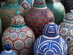 Hand painted pottery storage jars Marrakesh, Morocco