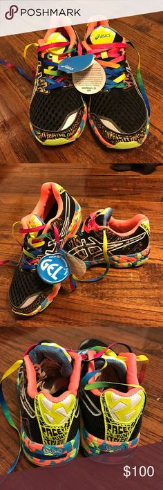 Asics Gel-Noosa Tri 8 Asics Gel-Noosa Tri 8, reflective black and multi-color. Never worn. Asics Shoes Athletic Shoes