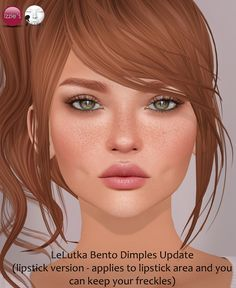 https://flic.kr/p/RXsCcN | LeLutka Bento Dimples Update | Today has been a new LeLutka Simone Bento head update (V 2.4), one of the new head features is the lipstick area covering half the LeLutka face now. Many people asked me, if it's possible to wear my dimples and at the same time keep their freckles/moles - but that was not possible until now :D I updated the dimples with an option to apply to the lipstick area too (there's 2 versions now in the full set) so you can wear your…