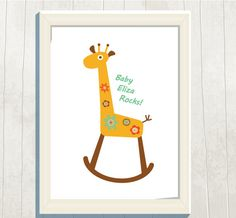 Personalized Nursery/ Kids Art Print Giraffe by VeryFairyGood Name Art, Art For Kids, Giraffe, New Baby Products, Nursery, Printables, Art Prints, Rock, Retro