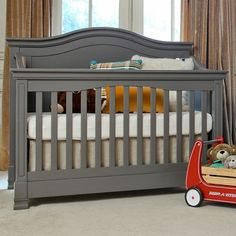 Million Dollar Baby Classic Louis 4-in-1 Convertible Crib with Toddler Rail in Manor Grey FREE SHIPPING