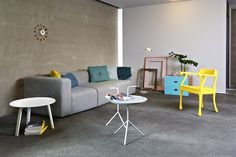 HAY - Mags, Dot Cushions, Mega Dot Quilt, Bella Coffee Table, DLM || muuto - Raw Lounge Chair, Leaf || vitra - Ball Clock