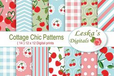 Cherry Digital Papers, Digital Papers, Vintage digital papers, Polka dots digital papers, Digital patterns and textures, Chic Patterns,