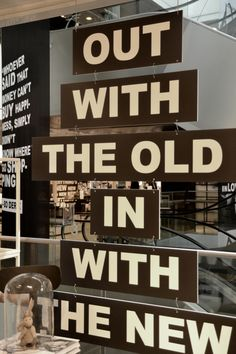 Out With the Old In With the New- subway sign style window or store display. Great idea for a New Year's display.