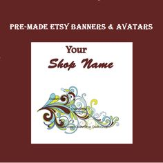Vintage style pre-made Etsy banner and shop icon elegant floral handmade etsy design set different banners fonts and avatars jewelry (5.88 USD) by OwlArtShop
