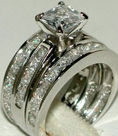 WIDE BAND PRINCESS CZ WEDDING RING CZ SET Sz 5 6 7 8 9..... Please can I have future husband?? Please!