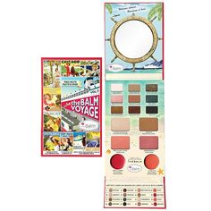 theBalm theBalm Voyage Palette Multi - It features nine exclusive triple-milled eyeshadows which can be used wet or dry, two blushes, a bronzer, a highlighter and two versatile lip-and-cheek creams stowed away in a sleek lower compartment. Beauty Box, Blush Beauty, Beauty Makeup, Beauty Stuff, Make Up Palette, Blushes, Body Lotions, Bronzer, Travel Size Products