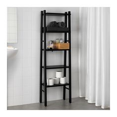 IKEA - VILTO, Shelf unit, black, The open shelves are perfect for perfume bottles or other things that you use frequently. Adjustable feet for increased stability and protection against wet floors. Perfect in a small bathroom. Ikea Bathroom, Bathroom Flooring, Small Bathroom, Black Bathroom Decor, Black Bathrooms, Bathroom Beadboard, Parisian Bathroom, Granite Bathroom, Neutral Bathroom