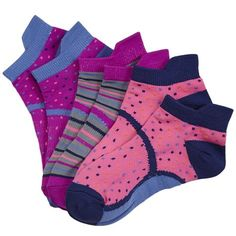 La De Da Girls 3 Pack Tab No Show Sock  La De Da Girls 3-Pack Performance Tab No Shows. Not only are these cute in brightly colored patterns, but are also made of an exceptionally comfortable nylon microfiber yarn. The no shows feature a stay put arch support, tabbed heel, comfort seam toe, and a nylon knit fiber that manages moisture with use. Made of a Nylon/Polyester/Spandex Blend. Available in two sizes to fit Girls Shoe Sizes 9-5.5 and 6-10.5 …