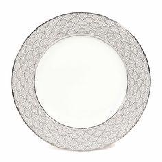 Assiette plate motif vagues en porcelaine D 28 cm MILADY   - Vendu par 6