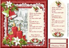 A beautiful card to make and give to any son & Daughter -in -Law at Christmas with a lovely scene with candles and bells , has one greeting tags and a blank one for you to choose the sentiment , Christmas Card Verses, Christmas Cards To Make, Christmas Wishes, Christmas Art, Daughter In Law, Quick Cards, Anniversary Quotes, Free Paper, Handmade Cards