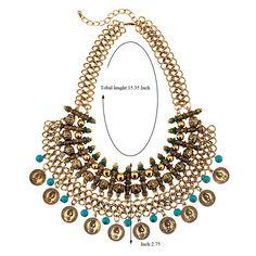 Wholesale estilo bohemio de moda de lujo collar de flecos hechos a mano monedas de metal (plata antigua) | Callesetas