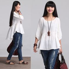 Loose Fitting Shirt Blouse for Women White Women от deboy2000