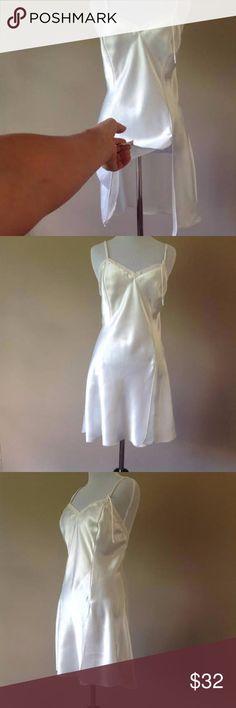 54e54a583db M   Vintage Victoria s Secret Satin Slip Dress Silky Smooth Satin Nightie  Slip Lingerie   Swingy
