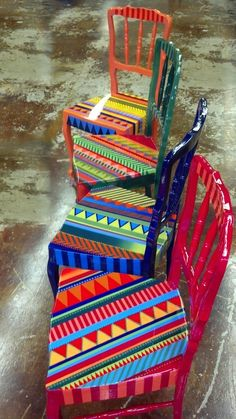 Hand painted and varnished colorful chairs by Lindsey Shevkun  www.lindseyshevkun.com
