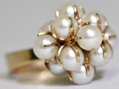 #buyitnow > Elis Kauppi for Kupittaan Kulta (FI), beautiful vintage 14k yellow gold pearls cluster cocktail ring. #finland | finlandjewelry.com