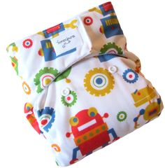 Robots One Size Cloth Diaper with PUL Velcro - Newborn Toddler