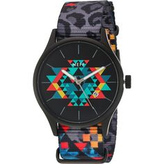 Neff Esteban Watch (Psychosafari) Watches ($33) ❤ liked on Polyvore featuring men's fashion, men's jewelry, men's watches, black, mens stainless steel watches and mens leather strap watches