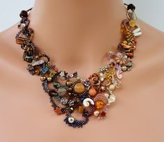 Chocolate and Copper Brown Freeform Peyote Necklace - Biscayne. $260.00, via Etsy.