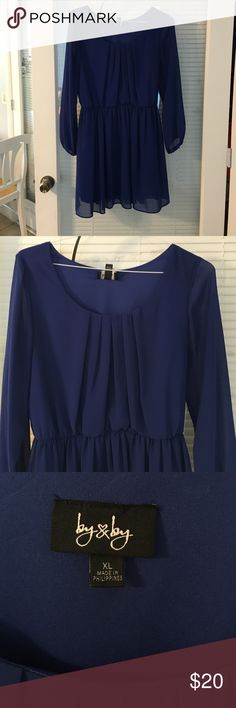 """Navy blue chiffon long sleeve dress Navy blue chiffon long sleeve dress with elastic waist and belt. Wore once to a baptism. It's way too short now as I am 5'11"""". Size XL Dresses Mini"""