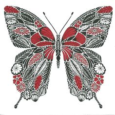 My first picture. #milliemarotta #butterfly #coloring #redblackandwhite #tropicalwonderland