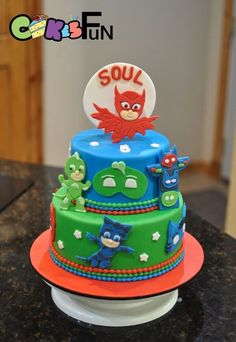 PJ Mask cake Pjmask Party, Fiesta Party, Party Cakes, 4th Birthday Parties, Baby Birthday, Birthday Ideas, Torta Pj Mask, Torta Angel, Pj Masks Birthday Cake