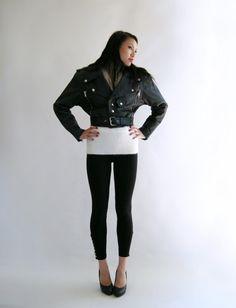 BLACK Leather Biker Jacket Vintage 80s Cosa Nova by empressjade, $285.00 Black Leather Biker Jacket, Angora Sweater, Pink Lady, Zippers, Nova, Vintage Outfits, Sleeves, Sweaters, Jackets