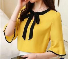 Summer Womens Blouses And Tops Bow Patchwork Office Shirts Women Short Sleeve Chiffon Blusas Mujer Plus Size Tops Ladies 2018 _ {categoryName} - AliExpress Mobile Version - Dress Neck Designs, Blouse Designs, Casual Skirt Outfits, Trendy Outfits, The Office Shirts, Plus Size Tops, Ladies Dress Design, Latest Fashion For Women, Shirt Blouses