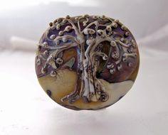 Tree of Life Lampwork Focal Bead Flat Back Lentil by susanlambert, $25.00