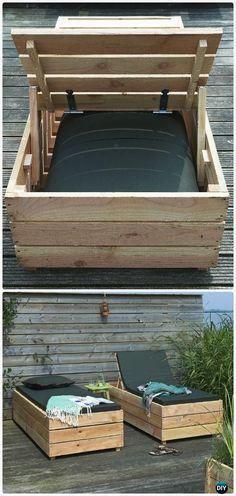DIY Patio Wood Lounge Bed Instructions - DIY Outdoor Patio Furniture Ideas