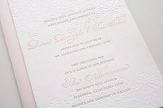 Lace embossed invitations in blush pink and slate grey cc'@Angela Richardson