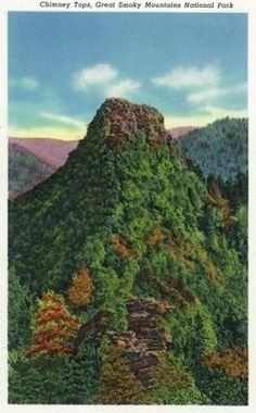 Great Smoky Mts Nat'l Park, TN - View of the Chimney Tops
